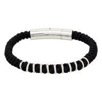 "Bracelet Homme acier et cordon noir ""RING BRACELET HOMME"""