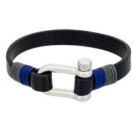 """Bracelet Homme acier et cuir noir """"DARK BLUE """""""