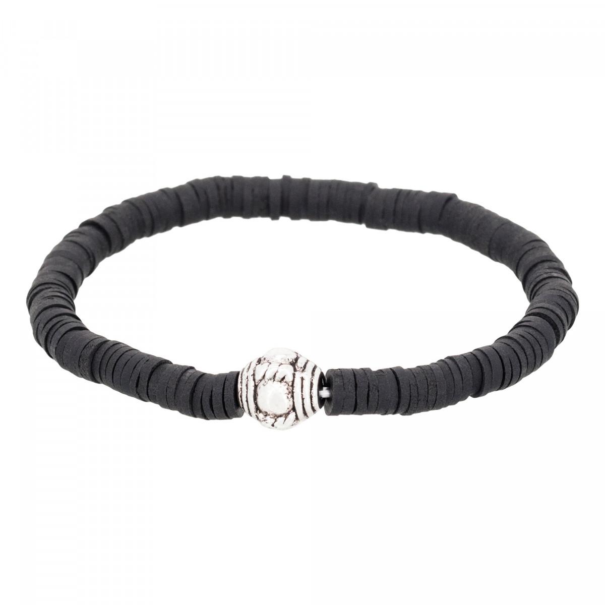 "Bracelet Homme élastiqué noir ""SMOKY"""