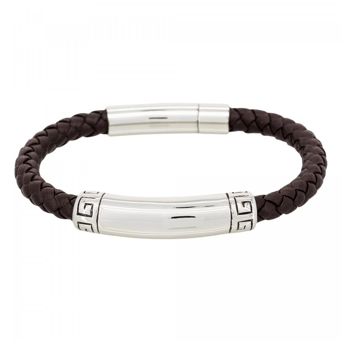 """Bracelet Homme acier et cuir marron """"RICK"""""""