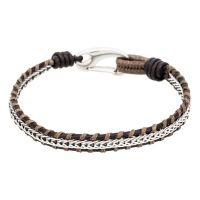 """Bracelet Homme acier et cuir marron """"BROWN PLAIT"""""""