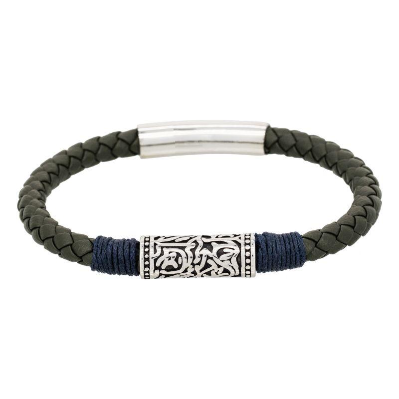 Bracelet Cuir Vert Homme Et Détail Bleu DHW29IE