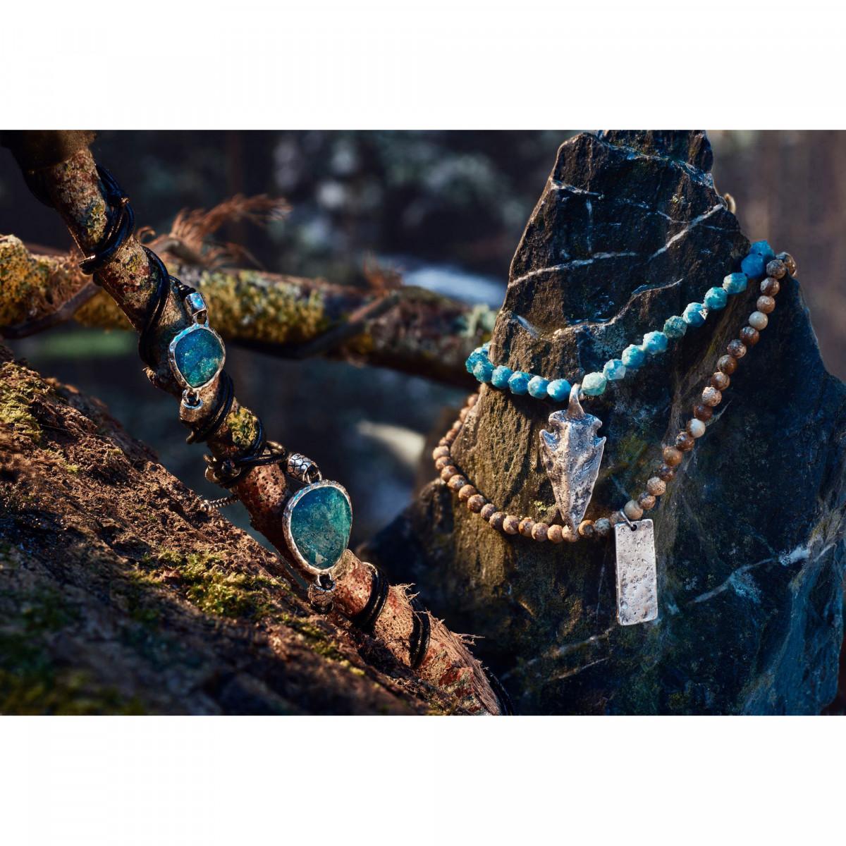 """Bracelet Homme ajustable acier et corde vert d'eau """"AZUL WAX"""""""