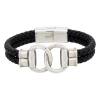 "Bracelet Homme double tour cuir noir ""FIT TOGETHER"""