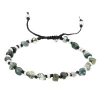 "Bracelet Homme ajustable pierres multicolore vert ""AQUATIC"""
