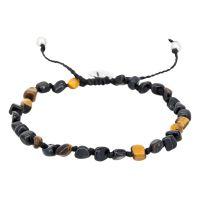"""Bracelet Homme ajustable pierres multicolore noir """"TIGER WAX"""""""
