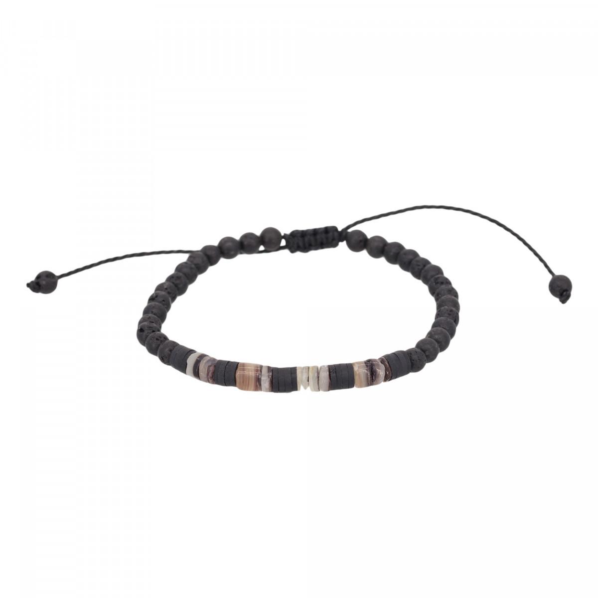 "Bracelet Homme ajustable pierres noires ""ROCK AND SAND"""