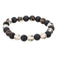"""Bracelet Homme élastiqué pierres noires """"LAVA"""""""
