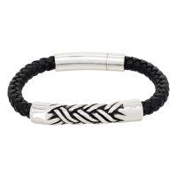 """Bracelet Homme acier et cuir noir """"ACIER TRESSÉ"""""""