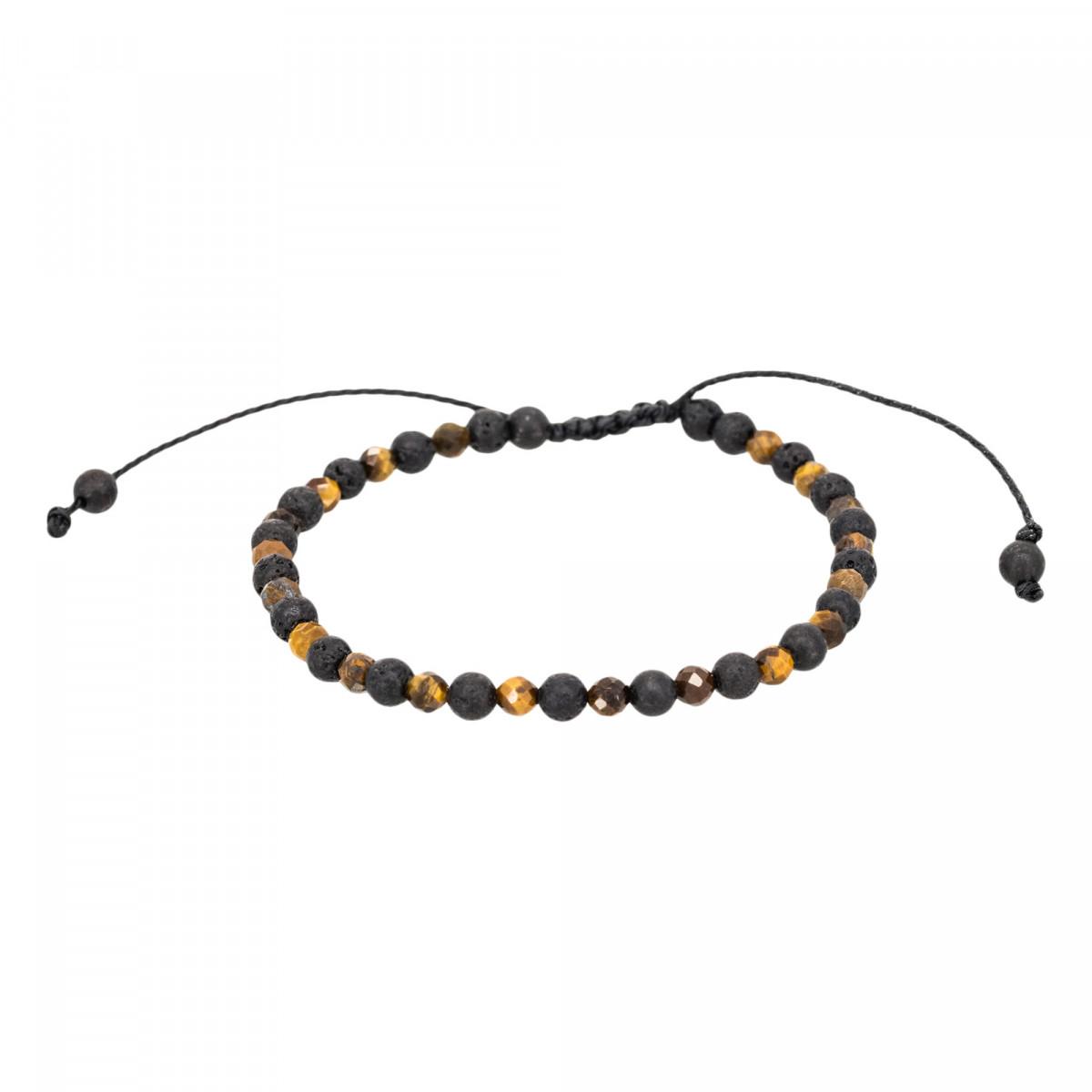 """Bracelet Homme ajustable pierres volcaniques et oeil de tigre """"SAND"""""""