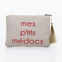 Grande pochette à message beige MES P'TITS MEDOCS rouge