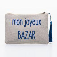 Grande pochette à message beige MON JOYEUX BAZAR bleu