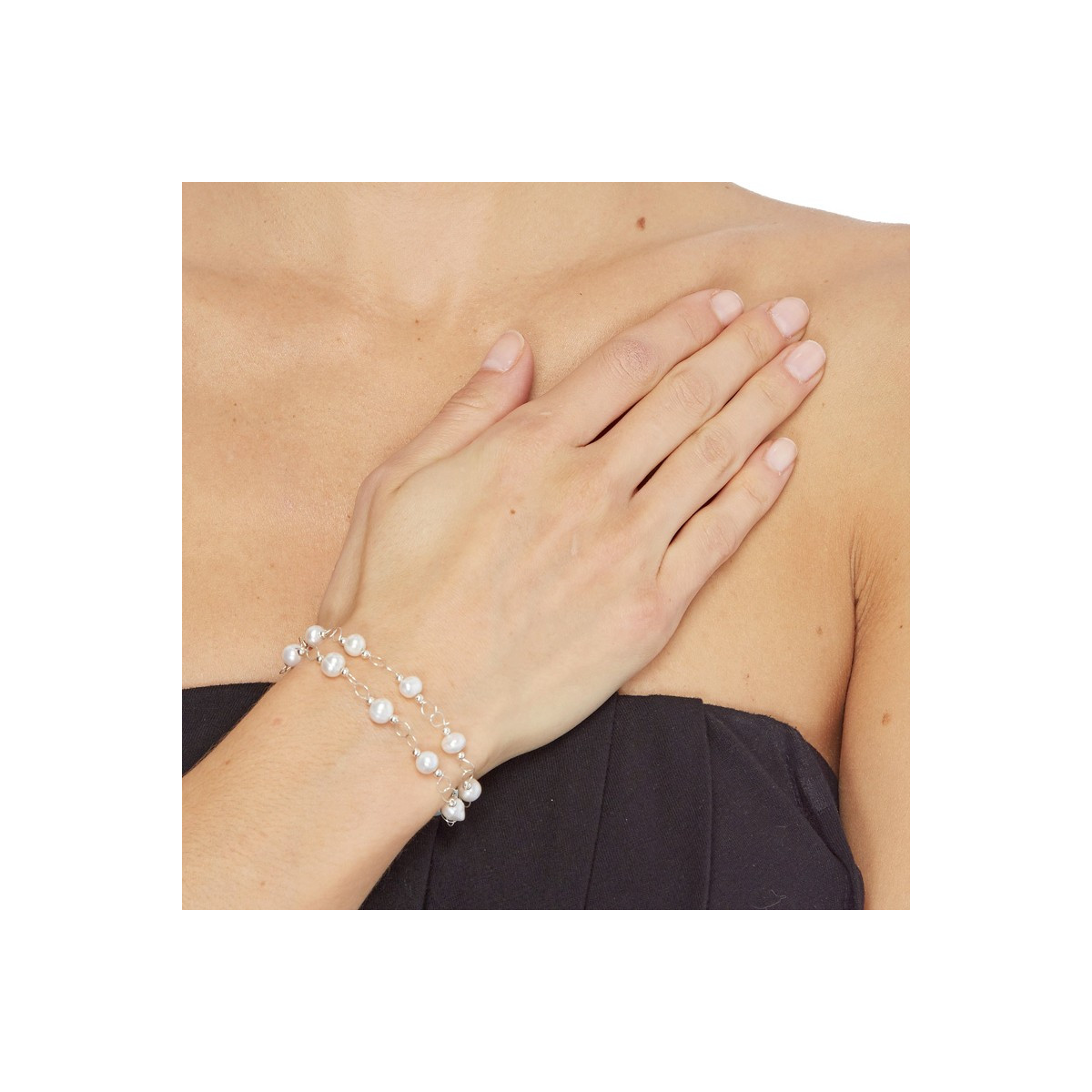"""Bracelet argent et perles de culture blanches """"Perle Chic"""""""