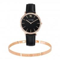 Coffret Bracelet jonc UNE MAMAN EN OR rosé et Montre Trendy Kiss