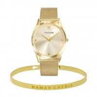 Coffret Bracelet jonc MAMAN CHERIE doré et Montre Trendy Kiss
