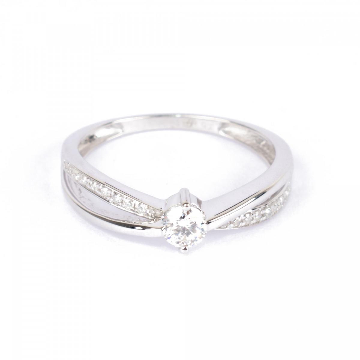 """Solitaire Or Blanc 375 """"JOLI"""" Diamants 0,27 carat"""