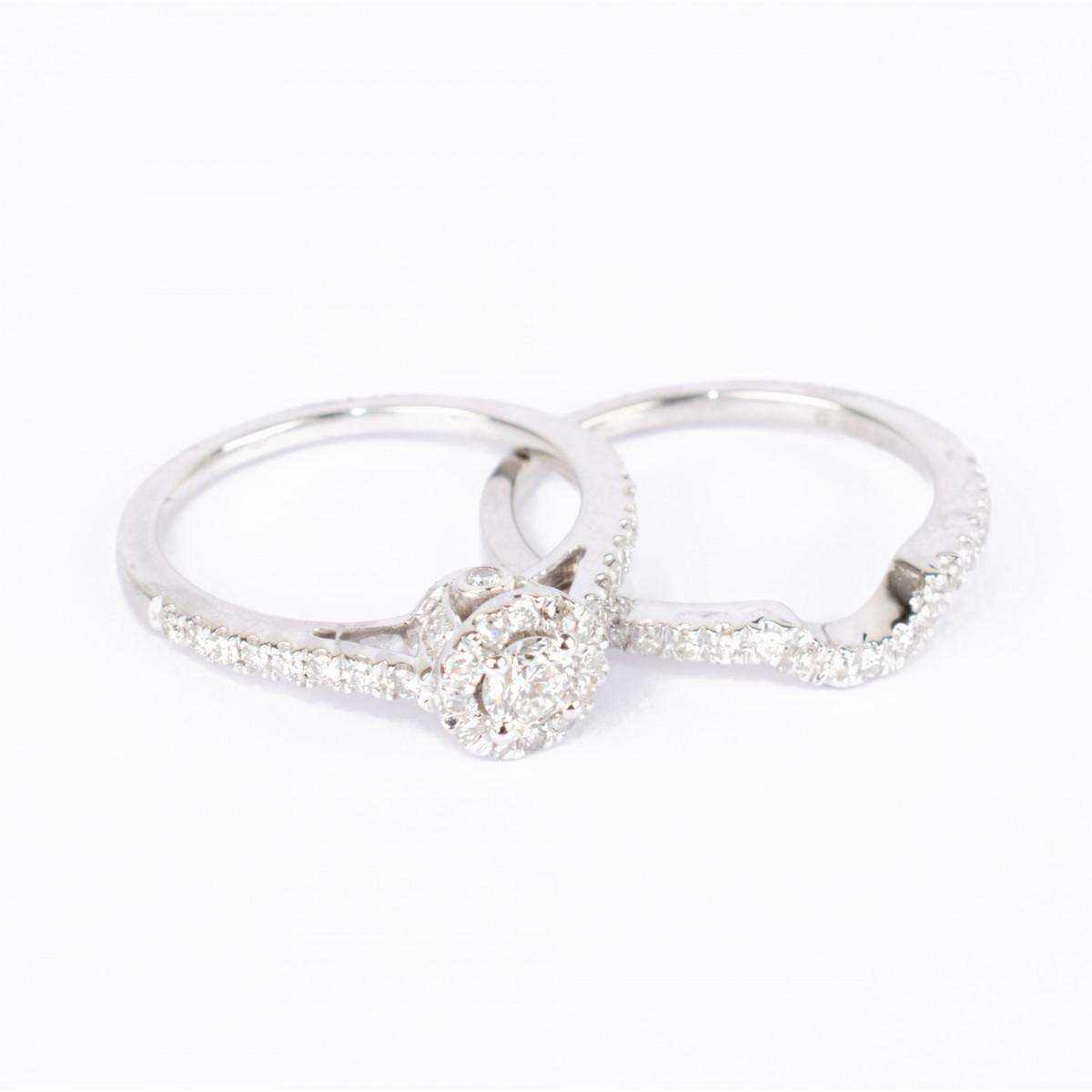 """Duo de Bagues Or Blanc 375 """"DUO MAJESTÉ"""" Diamants 0,51 carat"""