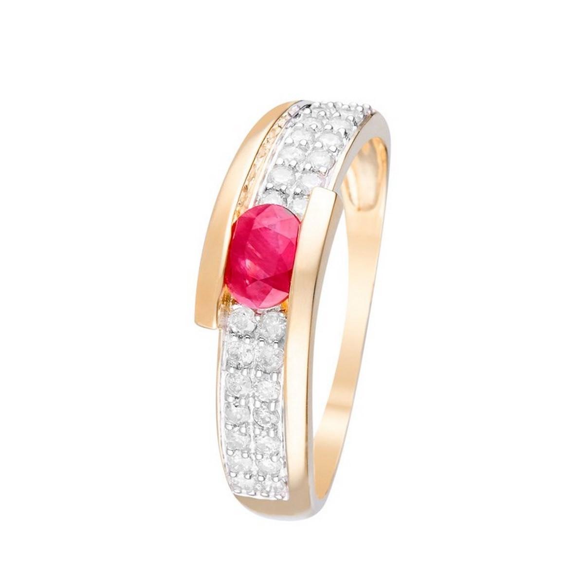 """Bague Or Jaune 375 """"JAIPUR"""" Diamants 0,28 carat et Rubis 0,48 carats"""
