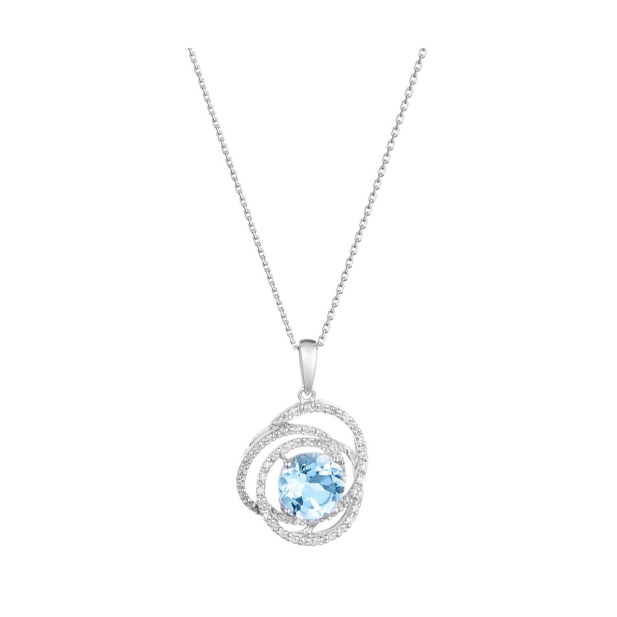 "Pendentif Or Blanc ""SEYCHELLES"" Diamants 0,17 carat et Topaze 2,25 carat"
