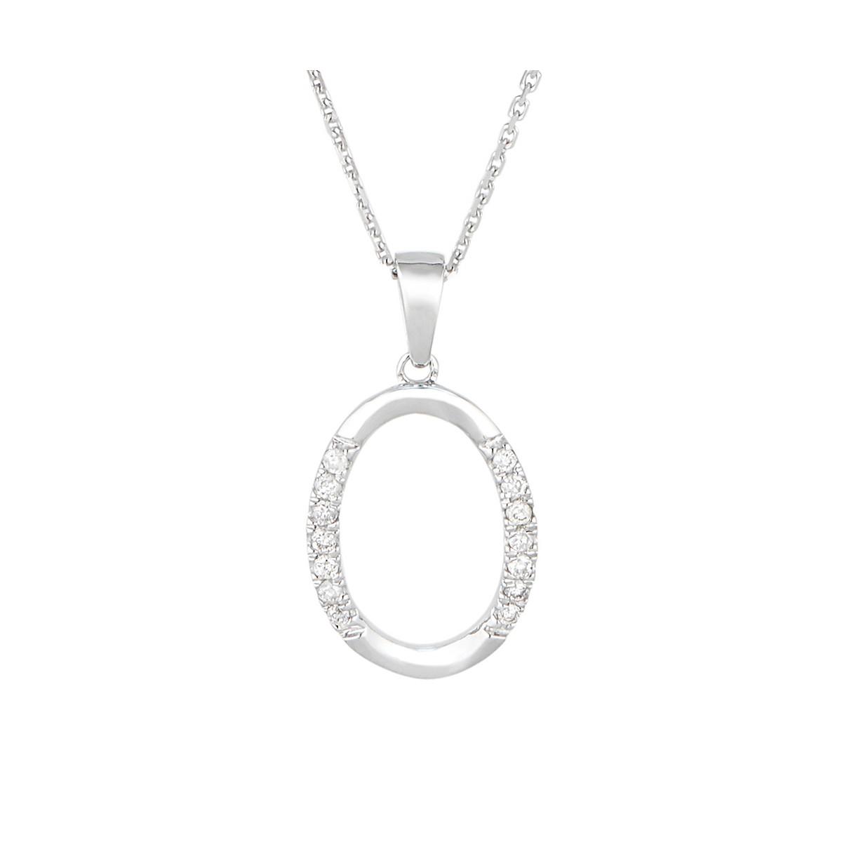 "Pendentif Or Blanc 375 ""MARIA"" Diamants 0.4 carats"
