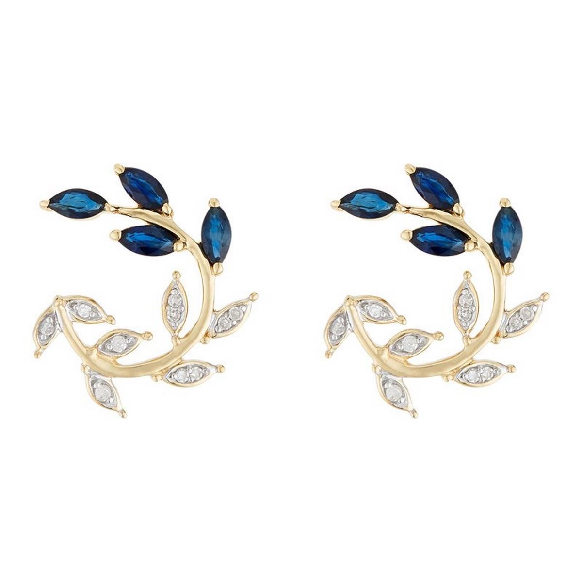 """Boucles d'oreilles Or Jaune 375 """"HYDRA"""" Diamants et Saphir 2.28 carats"""