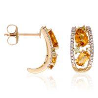"""Boucles d'oreilles Or Jaune 375 """"OLIVINES"""" Diamants et Pierres précieuses 3 carats"""