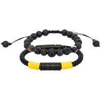 Duo Bracelets Homme YELLOW ROPE & STONE