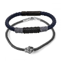 Duo Bracelets Homme ROPE & WAX AND SKULL