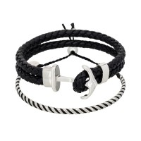 Duo Bracelets Homme ANCHOR & BLACK WAX
