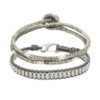 Duo Bracelets Homme GREY WAX CORD & ALLOY BUTTON