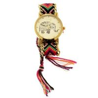 "Muse - Montre Femme doré ""La Festival"" bracelet multicolore orange"