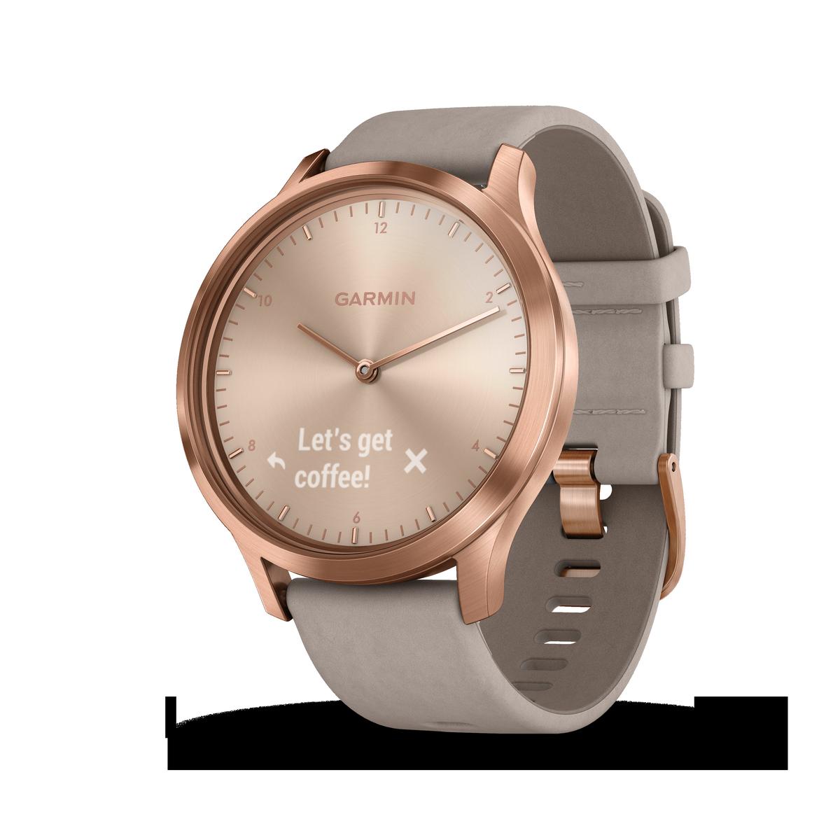 Montre connectée hybride Garmin VIVOMOVE HR, rosée  bracelet daim gris, taille unique