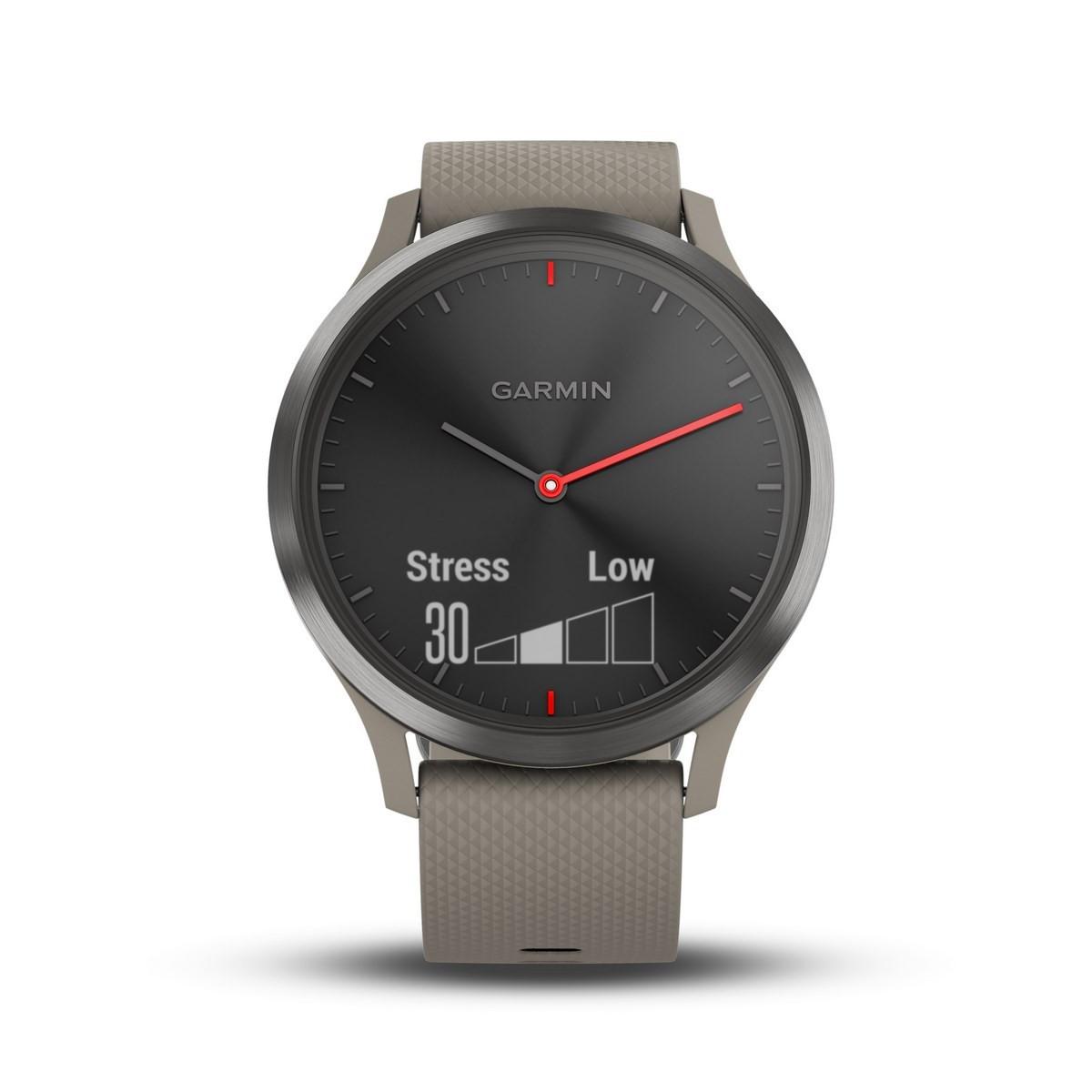 Montre connectée hybride Garmin VIVOMOVE HR, noir bracelet beige, taille unique
