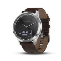 Montre connectée hybride Garmin VIVOMOVE HR, silver bracelet cuir brun, grande