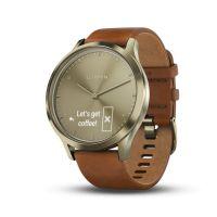 Montre connectée hybride Garmin VIVOMOVE HR, dorée bracelet cuir brun clair, petite/moyenne