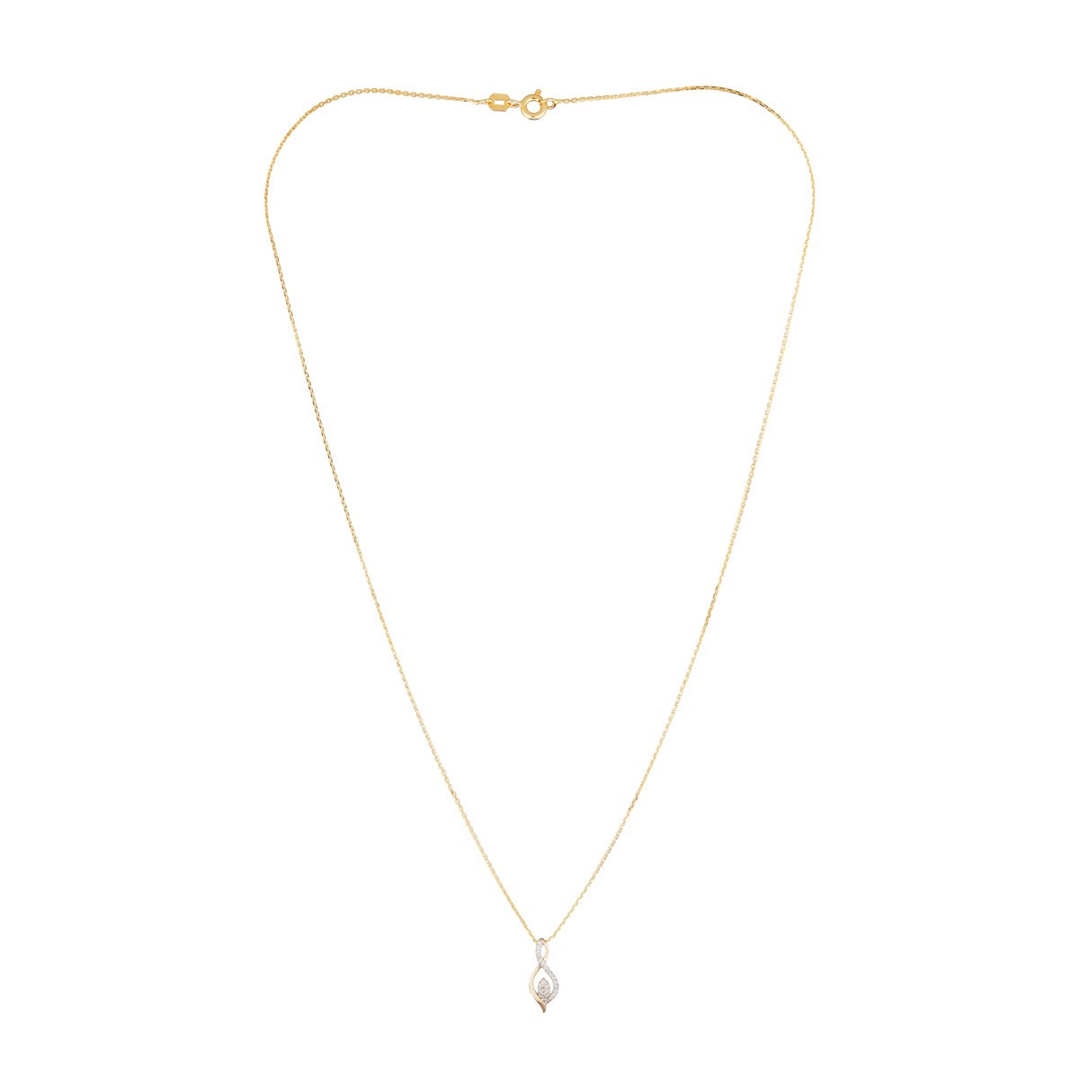 "Pendentif Or Jaune ""LUNA"" Diamants 0,07 carat + chaîne vermeil offerte"