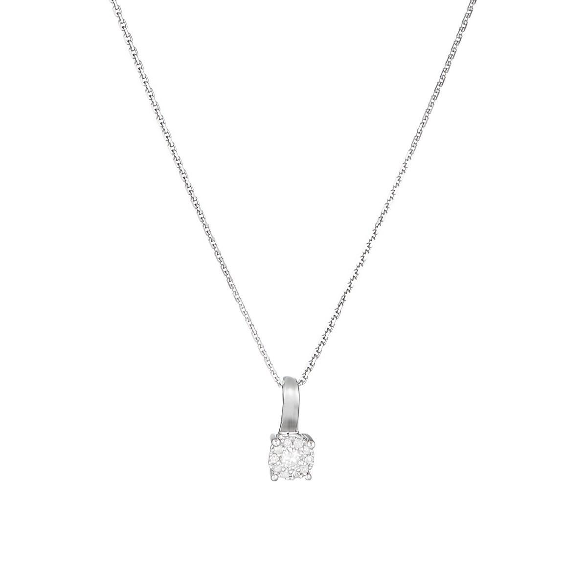 "Pendentif Or Blanc ""AKNA"" Diamants 0,11 carat + chaîne argent offerte"