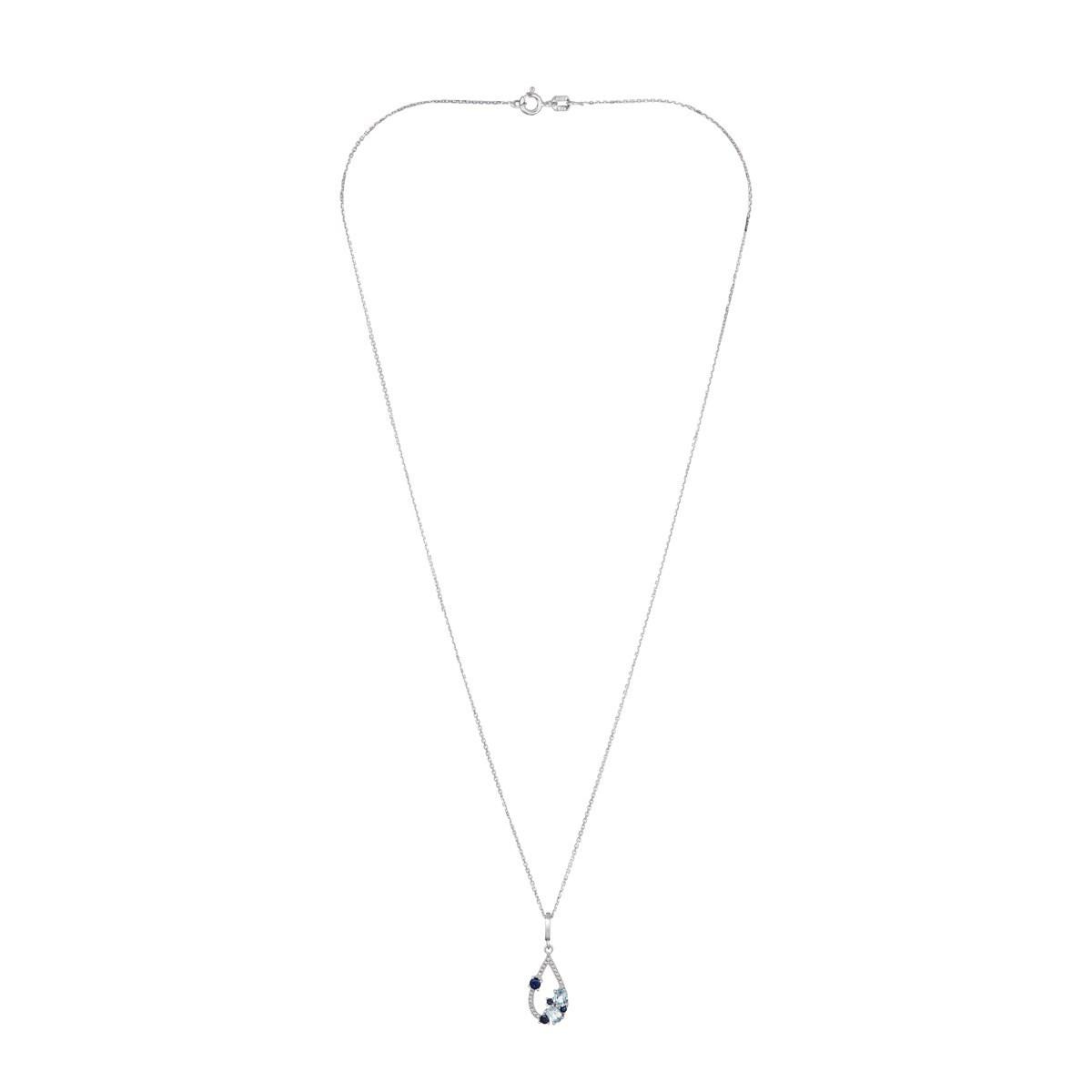 "Pendentif Or Blanc ""SAPHIR ELIXIR"" Diamants 0,01 carat avec Topaze Bleue 0,48 carat et Saphir 0,25 carat"