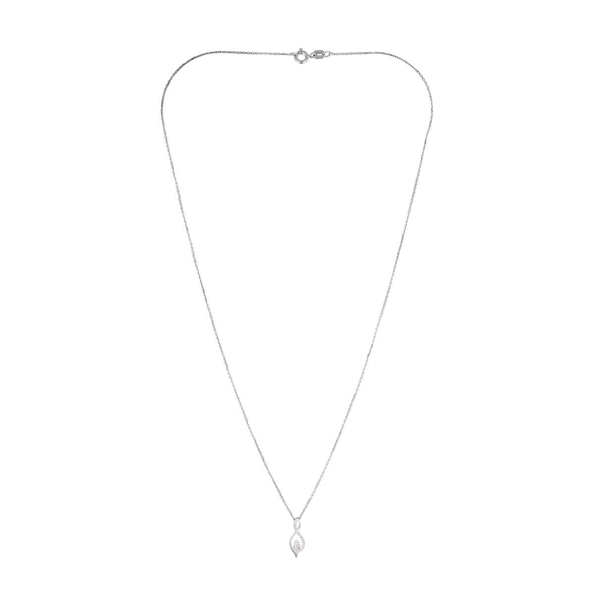 """Pendentif Or Blanc """"LUNA"""" Diamants 0,07 carat + chaîne argent offerte"""