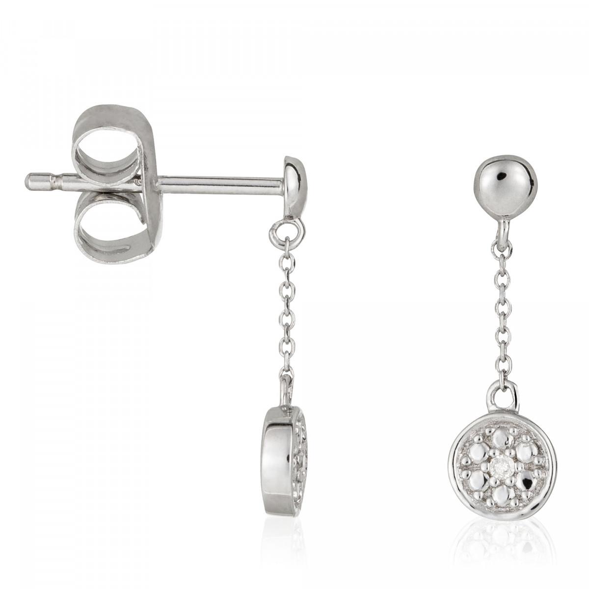 Boucles d'oreilles Or Blanc ''COMME SUR UN NUAGE'' Diamants 0,01/2