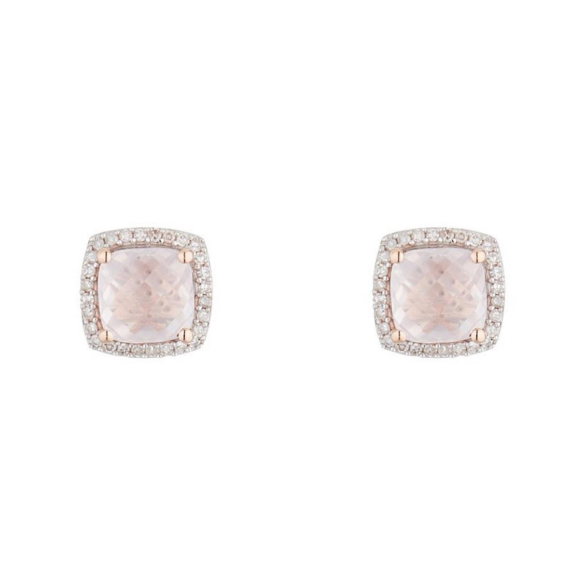 Boucles d'oreilles Or Rose ''QUARTISSIME'' D 0,18/56 & Rose Quartz 2,4/2