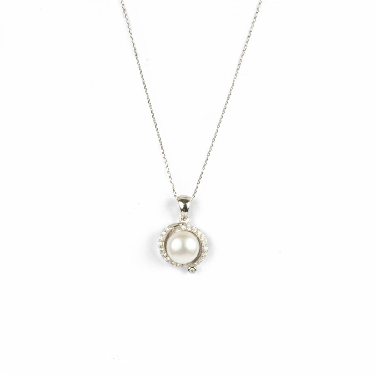 """Pendentif Argent, oxydes de zirco et perle de culture blanche """"Perle d'amour"""" + chaine argent offerte"""