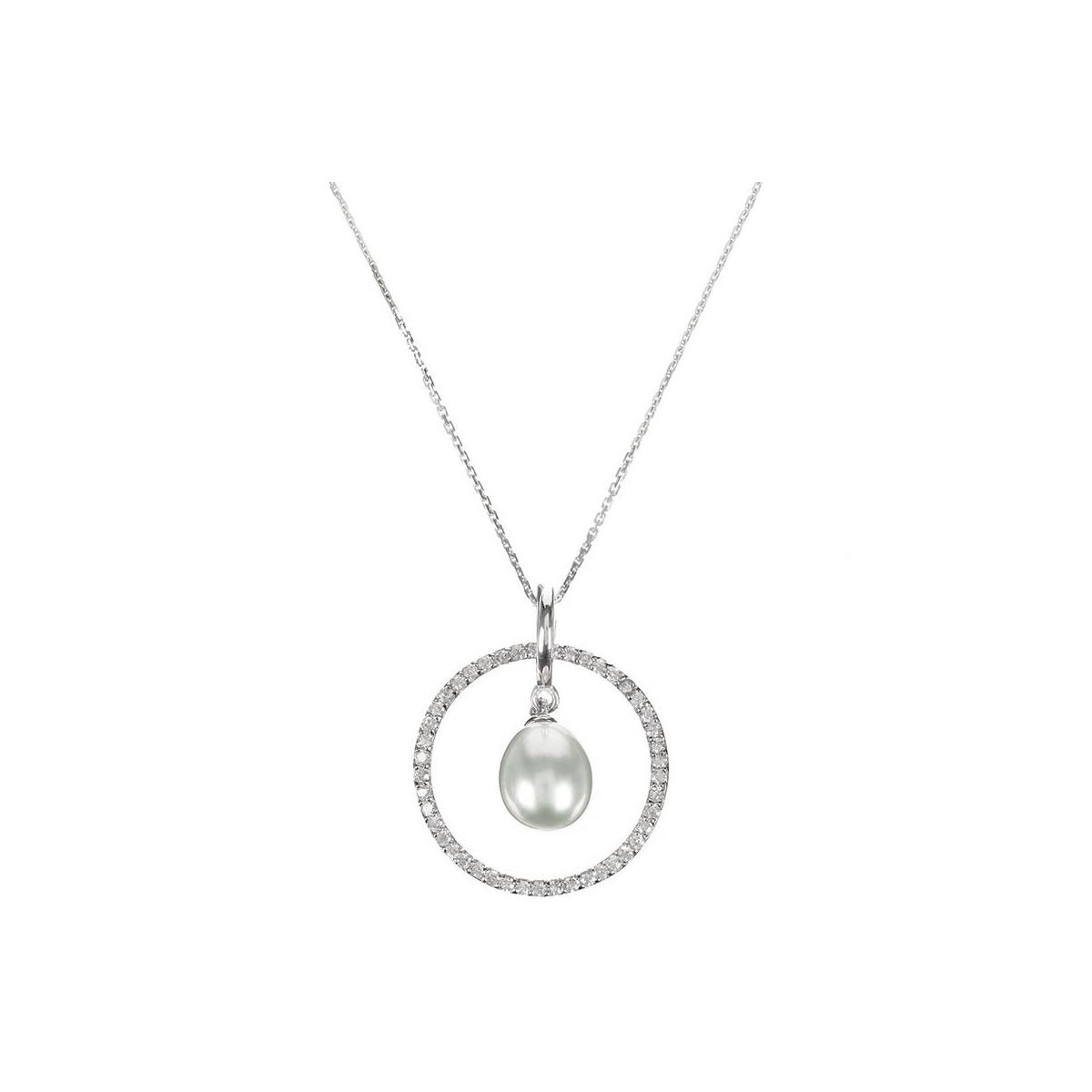 """Pendentif Argent, zirconium et Perle Grise """"Cercles Pétillants Perlés"""" + chaine argent offerte"""
