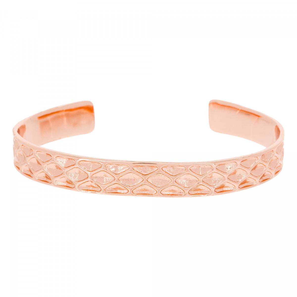 Bracelet jonc ouvert rosé à motif martelé
