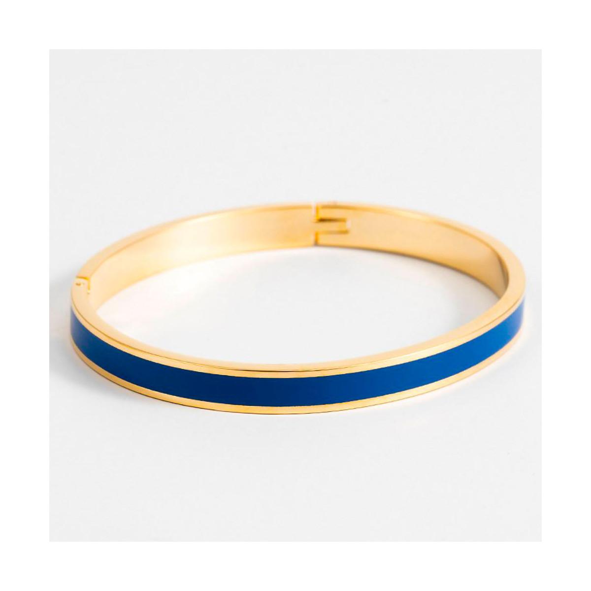 Bracelet émail Bleu finition dorée
