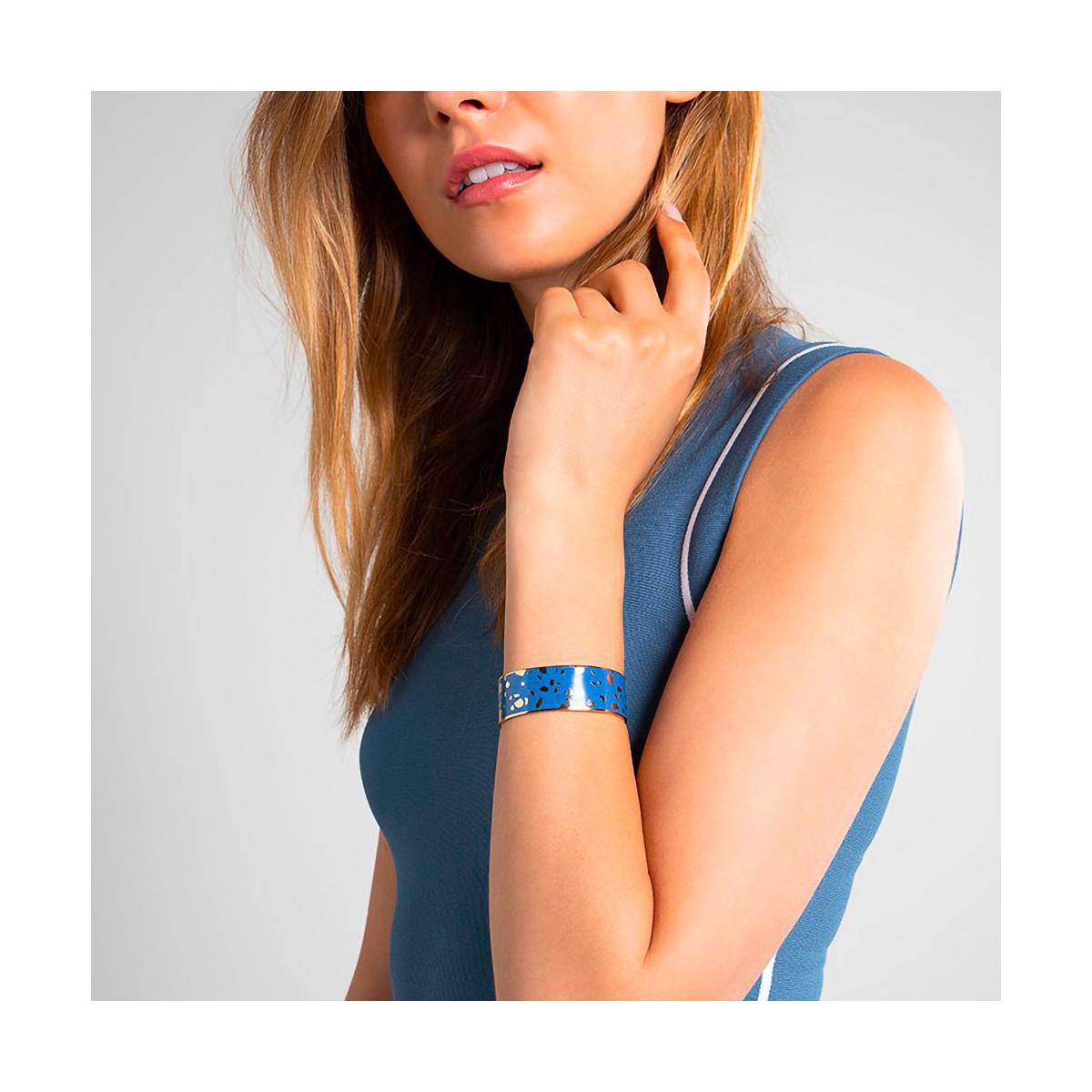 "Bracelet ouvert ""SYDNEY"" émail Bleu finition dorée"
