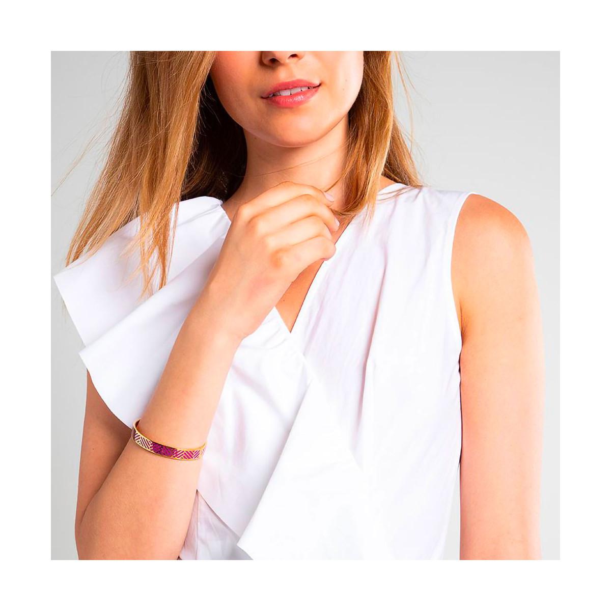 """Bracelet jonc """"RIO"""" émail Violet finition dorée"""