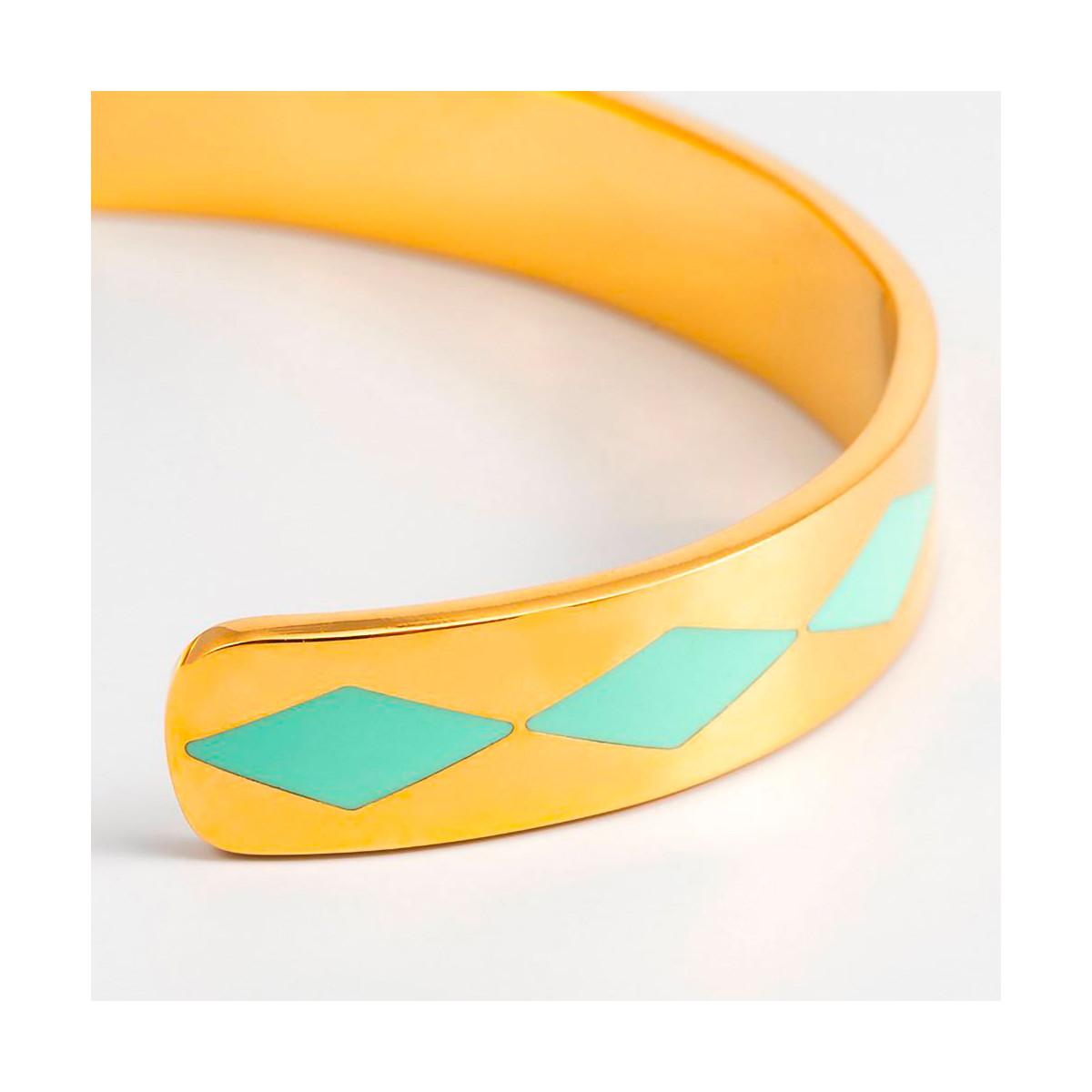 """Bracelet ouvert """"SAO PAULO"""" émail Turquoise finition dorée"""
