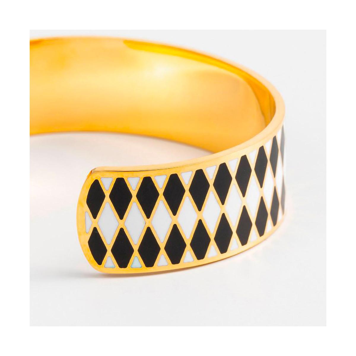 """Bracelet ouvert """"DARWIN"""" émail Blanc et Noir finition dorée"""