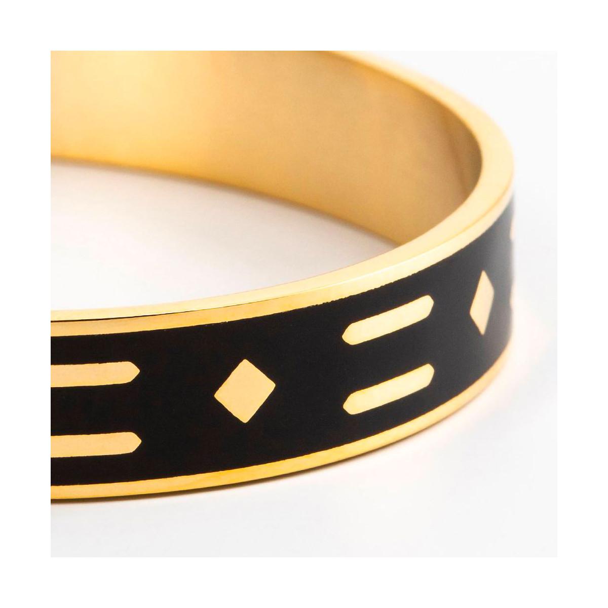 """Bracelet ouvert """"CAPRI""""  émail Noir finition dorée"""